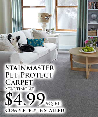 Stainmaster Pet Protect Carpet starting at $4.99 sq.ft. completely installed