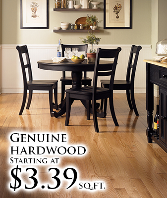 Genuine Hardwood starting at $3.39 sq.ft.