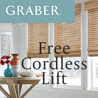 Graber Free Cordless Lift Upgrade on select fashions - stop by our showroom for selections.